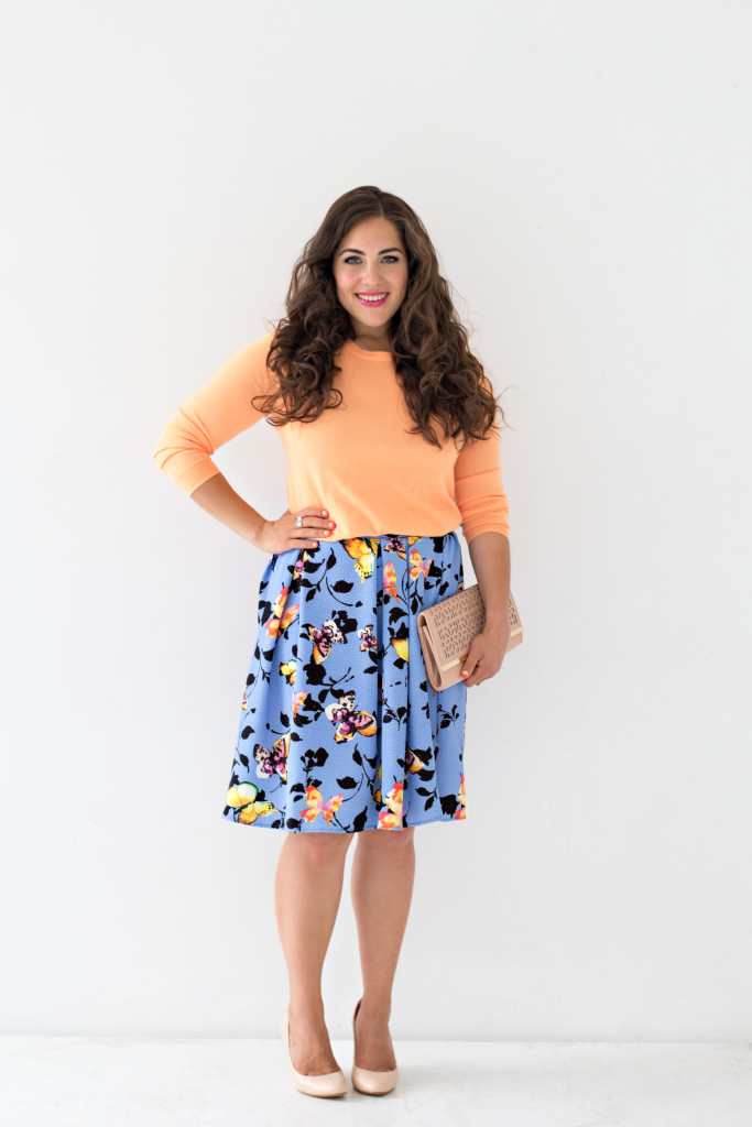 butterfly printed skirt