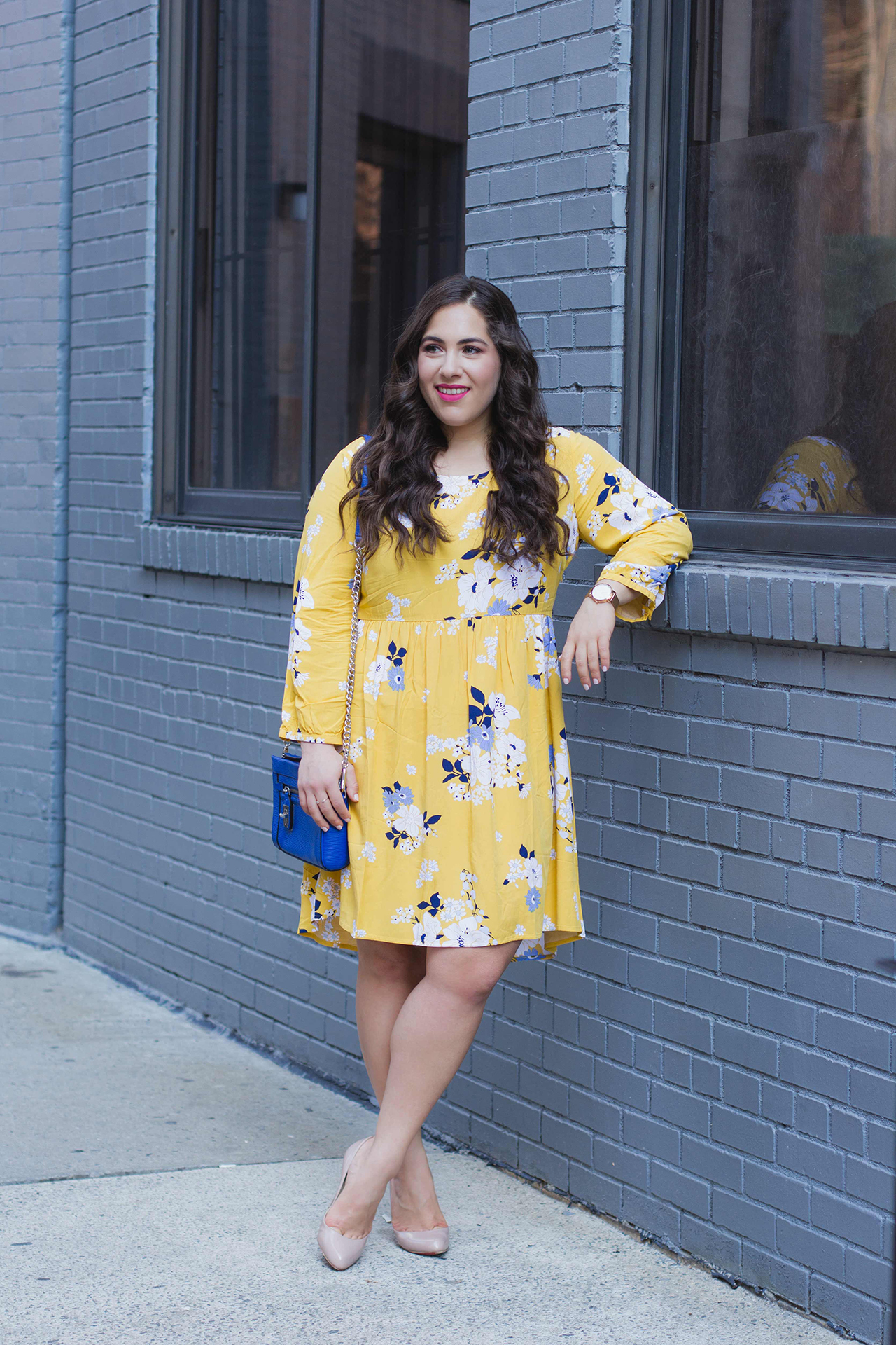 yellow long sleeve dress