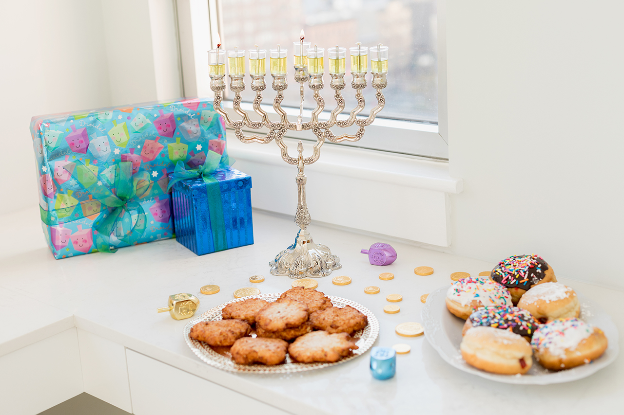 menorah, latkes, and donuts