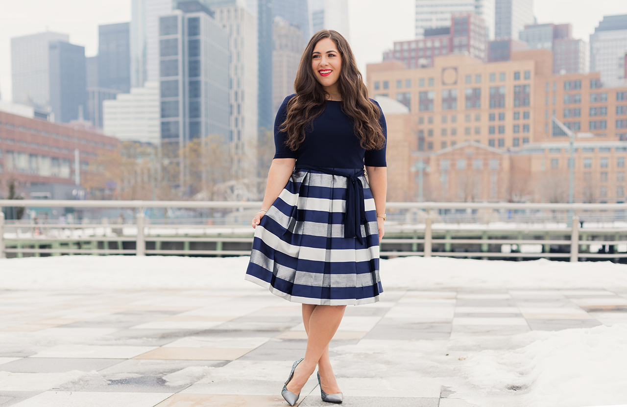 alex evenings stripe fit and flare dress