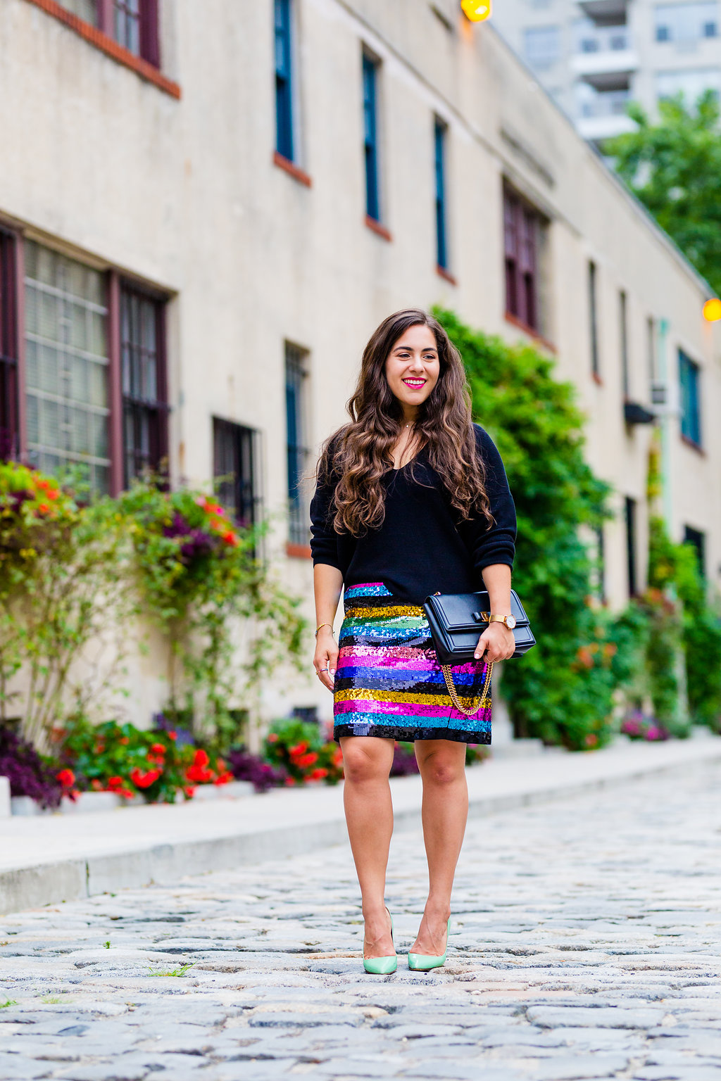 striped sequin skirt