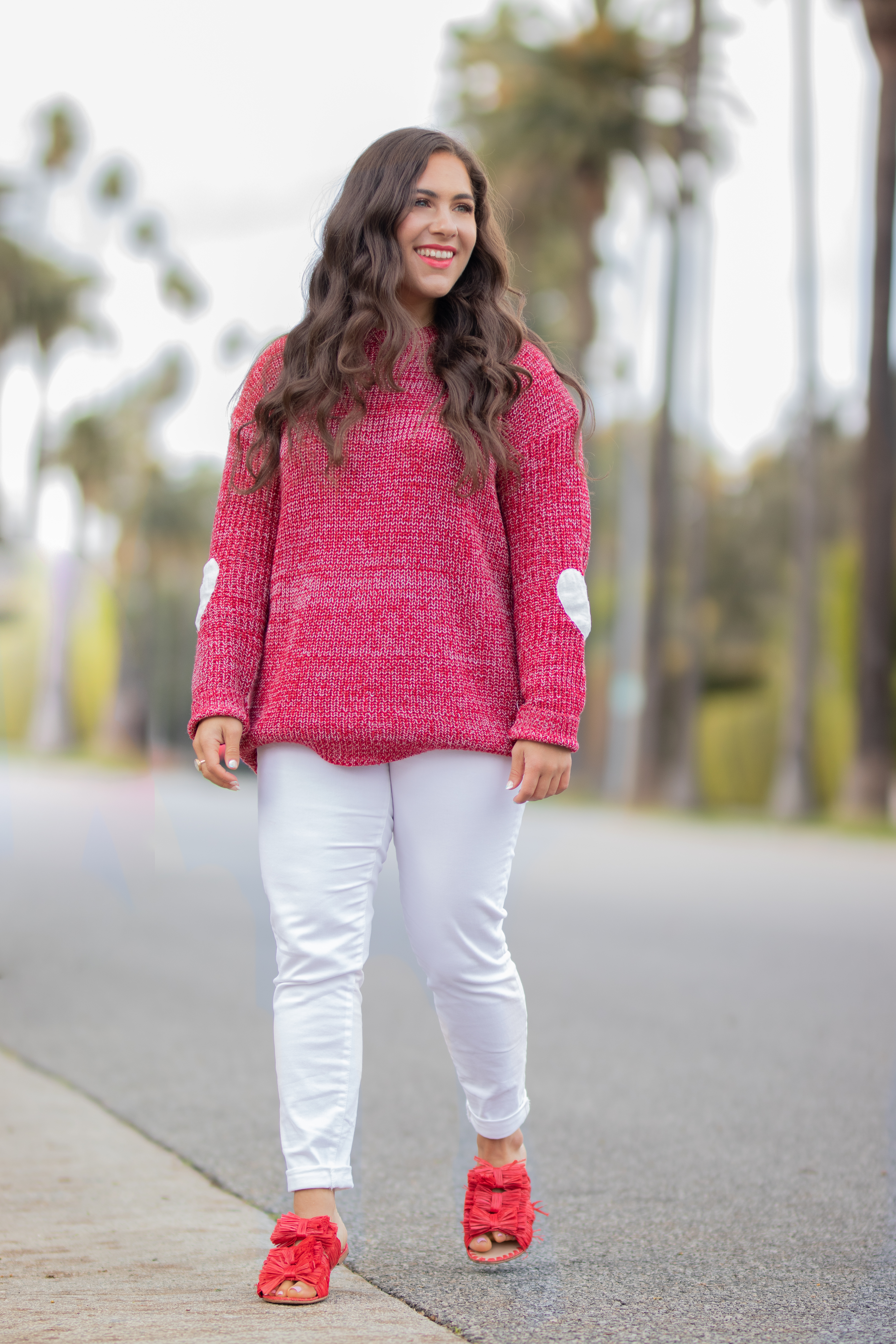 elbow patch heart sweater