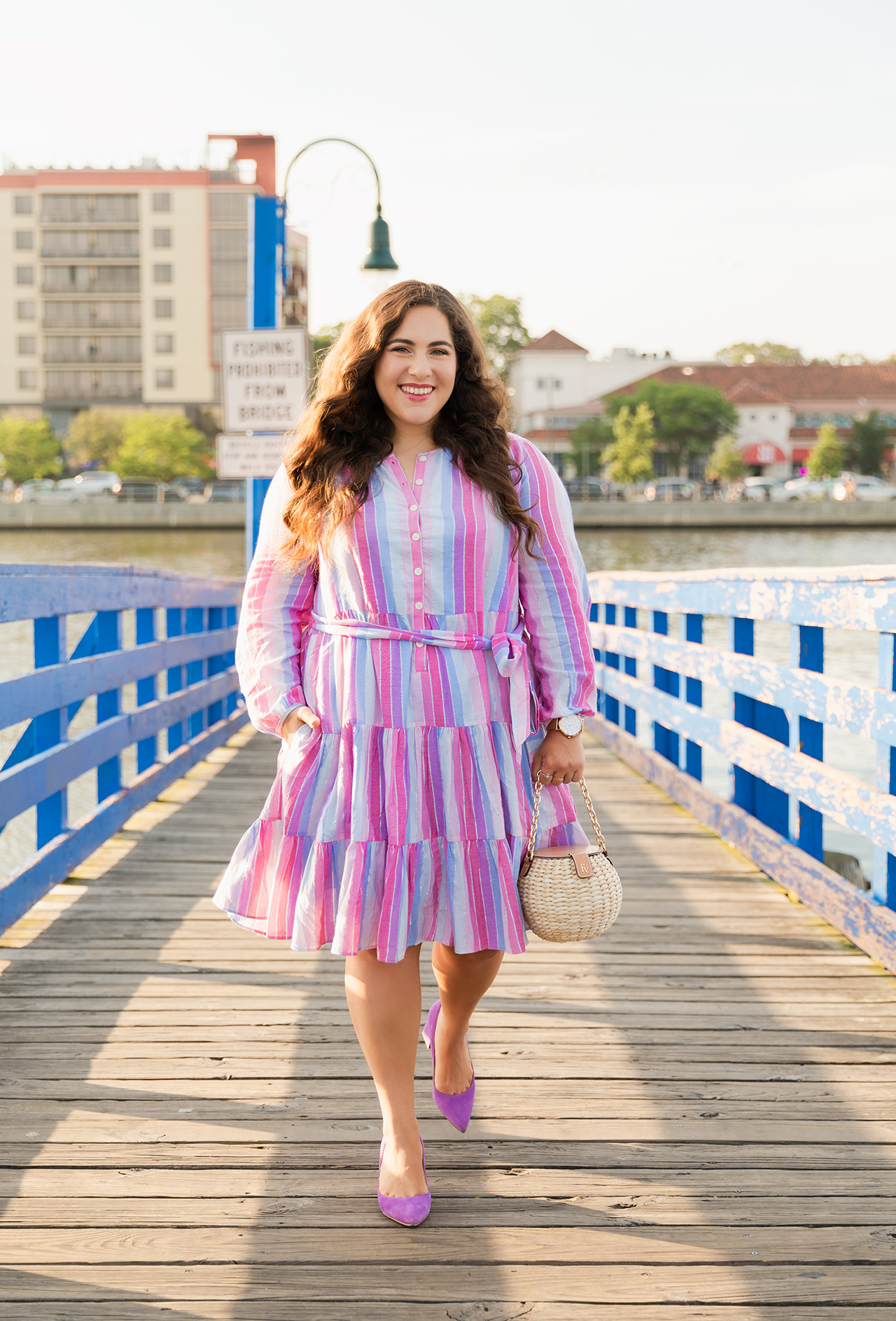 belted button-up dress in pastel stripe